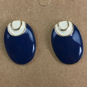 Vintage Enamel Oval 80s Earrings